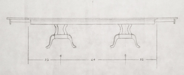 Drawing of a custom double-pedestal expandable dining table.