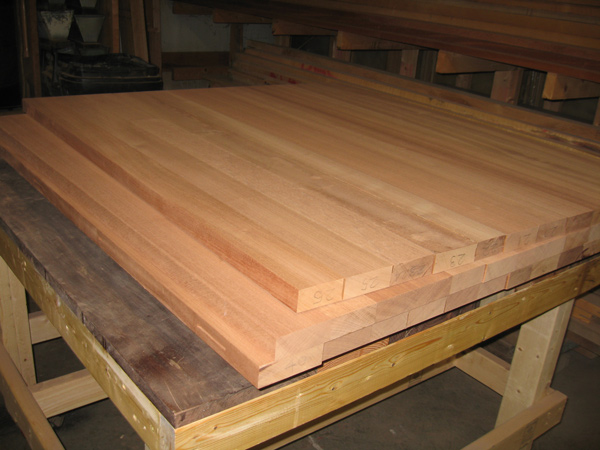 Sections of table top are sanded smooth.